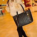 Women's PU Leather Quilted Check Pattern Twin Zipper Shoulder Bag Totes