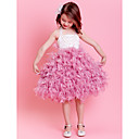 Ball Gown Halter Tea-length Feather Flower Girl Dress(More Colors)