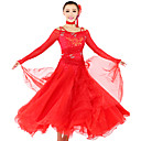 Ballroom Dancewear Women's Tulle Spandex Ballroom Modern Dance Dress Including Dress And Collar (More Colors)
