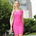 Women's Solid/Lace Dress , Vintage/Sexy/Bodycon/Lace/Party V Neck Short Sleeve