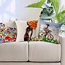 set om 3 färgstarka mönster bomull / linne dekorativa örngott