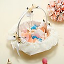 Flower Basket In Ivory Satin With Lace And Crystal Pendant Flower Girl Basket