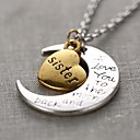 Fashion Sister Heart And Moon Pendant Silver Alloy Pendant Necklace(1 Pc)