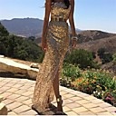Women's Sexy Sequins Gold Strapless Maxi Dress
