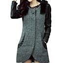 faux pelliccia splicing PU asim cappotto sottile delle donne