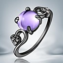 European Purple Opal Black Gold Plated Alloy Statement Rings(1pc)