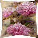 Pink Peony Velvet Decorative Pillow Cover