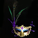Peacock Feather og Eye Shadow Purple PVC Holiday halv ansiktsmaske