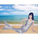 Silver Fish Scale Pattern Mermaid Tail Cosplay Party Costume