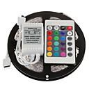 5M 300X3528 SMD RGB LED Strip Light with 24Key Remote Controller (DC12V)