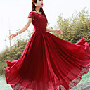 Women's Solid Color Maxi Chiffon Dress with Lace Top
