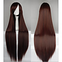 Hot Sale 40 Inches High Temperature Fiber Long Straight Dark Brown Cosplay Costume Wig Side Bang
