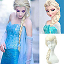 28 Inches Movie Frozen Snow Princess Elsa Wig Blonde High Temperature Fiber Big Braids  Cosplay Costume Anime  Wigs