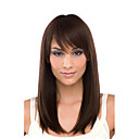 Fascinating Medium Length Straight Light Auburn Human Hair Wigs with Side Bang