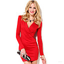 Women's Bodycon/Work V-Neck Long Sleeve Dresses (Lycra)
