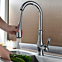 Traditional Chrome Finish One Hole Single Handle Deck Mounted Rotatable Pullout Spray Kitchen Faucet