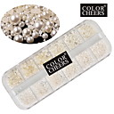 1000pcs beige perle nail art dekorationer 1,5 / 2/3/4 mm