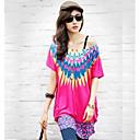Kort ärm KVINNOR T-Shirts ( Lycra )med Rund i Casual stil