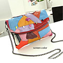 Handcee® The Newest Fashion Woman Leather Color Contrast Crossbody Bag