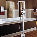 Bathtub Faucet / Shower Faucet - Contemporary - Floor Standing / Handshower Included - Brass (Chrome)