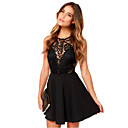 Women's Party / Work / Vintage / Sexy / Casual / Lace Lace Skater Dress , Round Neck Chiffon / Lace