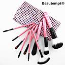 핑크 체크 무늬 케이스 귀여운 색상 10PCS 직업적인 산양 머리 핑크 핸들 브러쉬 세트