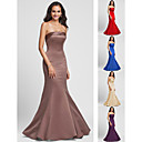 Bridesmaid Dress Floor Length Satin Trumpet Mermaid Strapless Dress