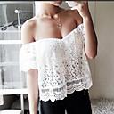 Women's Bateau Lace Blouse , Lace Short Sleeve