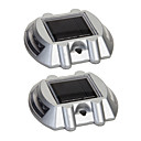 Pack of 2 Aluminum Solar 6-LED Outdoor Road Driveway Dock Path Ground Light Lamp
