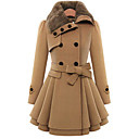 YiFuDi  Women's Solid Color Red / Brown Coats & Jackets , Casual / Work Pan Collar Long Sleeve