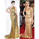 TS Couture Formal Evening Dress - Gold Plus Sizes / Petite Trumpet/Mermaid One Shoulder Sweep/Brush Train Sequined