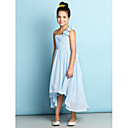 Robe de Demoiselle d'Honneur Junior  - Bleu Ciel A-line Épaule asymétrique Traîne asymétrique Mousseline polyester