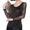 Mujer Simple Casual/Diario Tallas Grandes Primavera Camiseta,Escote Redondo A Rayas Manga Larga Nailon Medio