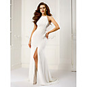 TS Couture® Formal Evening Dress - Ivory Plus Sizes / Petite Sheath/Column Halter Sweep/Brush Train Chiffon