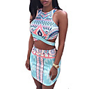 Women's Print Blue Set,Round Neck Sleeveless