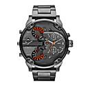 남성 밀리터리 시계 일본 쿼츠 듀얼 타임 존 스테인레스 스틸 밴드 손목 시계 블랙