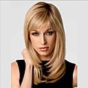 Bang mode Gloden de côté doux de longueur moyenne bouclés perruque de cheveux synthétiques