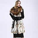 BF-Fur Style Women's Casual/Daily Sophisticated Fur CoatSolid Shirt Collar Sleeveless Winter White Rabbit Fur / Raccoon Fur