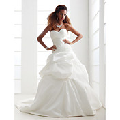 Lanting A-line/Princess Plus Sizes Wedding Dress - Ivory Chapel Train Sweetheart Satin/Taffeta