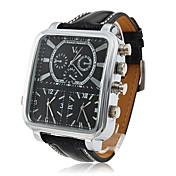 V6 Hombre Reloj Militar Reloj de Pulsera Cuarzo Cuarzo Japonés Tres Husos Horarios PU Banda Negro Negro