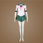 Inspirado por Sailor Moon Sailor Jupiter Animé Disfraces de cosplay Trajes Cosplay Retazos Sin Mangas Pañuelo Vestido Guantes Cinta Para