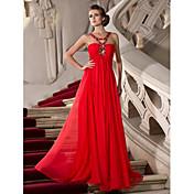 Vaina / columna correas longitud del piso vestido de fiesta de gasa con rebordear por ts couture ®