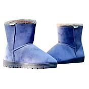Más nuevos hombres de la PU de cuero planas mitad de la pantorrilla botas de invierno