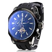 メンズ自動機械式トゥールビヨンブラックシリコンバンドアナログ腕時計(アソートカラー)