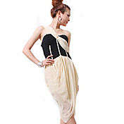 ZHI YUAN Un empalme de hombro vestido de color de contraste