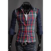 Camisa De los hombres A Cuadros Casual-Mezcla de Algodón-Manga Larga-Azul / Rojo