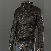 厚いPUジャケット内側のメンズスタンドカラーのベルベット