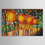 Pintada a mano Paisaje / Paisajes Abstractos Un Panel Lienzos Pintura al óleo pintada a colgar For Decoración hogareña