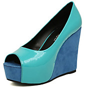 Crape MYRTLE Kvinders Peep Toe Color Block Slipsole High Heel Shoes Green