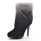 Moolecole Kvinders Sort Cony Hair Diamond Soft læder gummisål High Heel Boots
